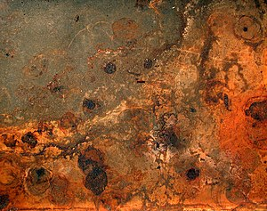 Rust and dirt on a baking plate. Français : Ro...