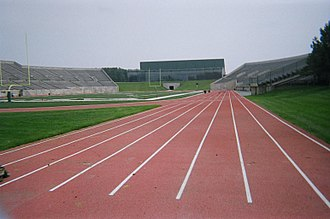 Rynearson Stadium - Olds/Marshall Track in Rynearson Stadium, with the Convocation Center in the background
