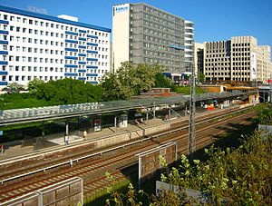 Berlin Landsberger Allee station - A view of Landsberger Allee station from the west.