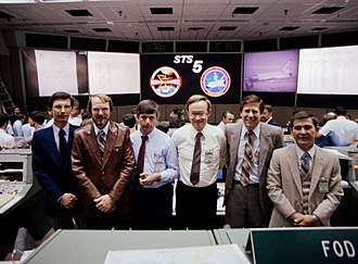 Jay Greene - Jay Greene (third from left) and Tommy Holloway (fourth from left) with a group of flight directors after the successful completion of the STS-5 mission.