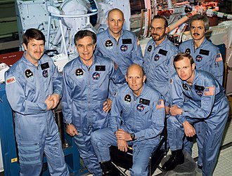 Karl Gordon Henize - The crew assigned to the STS-51F mission included (kneeling left to right) Gordon Fullerton, commander; and Roy D. Bridges, pilot. Standing, left to right, are mission specialists Anthony W. England, Karl G. Henize, and F. Story Musgrave; and payload specialists Loren W. Acton, and John-David F. Bartoe.