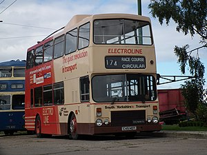 Trolleybuses in Doncaster - A view of the experimental trolleybus at Sandtoft Trolleybus Museum