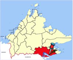 Lage der Stadt innerhalb des Distrikts Tawau
