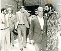 Sadegh Ghotbzadeh and Taher Ahmadzadeh after meeting with Abdullah Musawi Shirazi, Mashhad - 1979.jpg