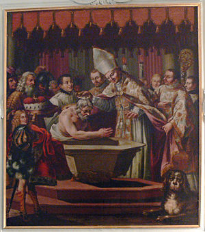 Theodo of Bavaria - Baptism of Duke Theodo by Bishop Rupert of Salzburg, St Peter's Abbey, Salzburg