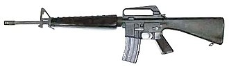 Assault rifle - The M16 was first introduced into service in 1964 with the United States Armed Forces. It fires the 5.56×45mm NATO cartridge.