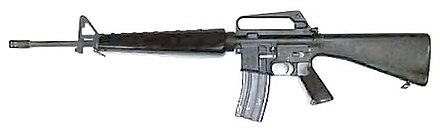 The M16 was first introduced into service in 1964 with the United States Armed Forces. It fires the 5.56x45mm NATO cartridge. Sam16a1.jpg