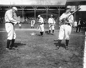 Sam Crawford - Sam Crawford and Ty Cobb clown around with a camera, circa 1908