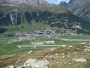 Samedan (Rhaetian Railway station) - Samedan from above. The station can be seen in the centre of the image