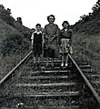 Samuel and Hester Grant with aunt Hester Wallace on Comber Railway Line. circ 1953 - panoramio.jpg