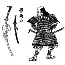 JapaneseEdo periodwood block print of a samurai with atachi.