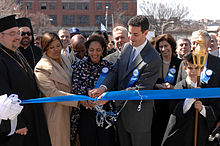 Sarbanes and Dixon cutting ribbon at 2007 Baltimore Greek Independence Day Parade.jpg