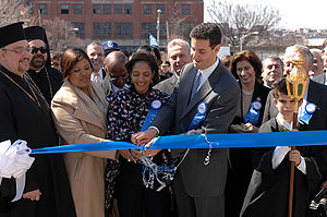 Sheila Dixon - Dixon (front, third from left) cuts the parade ribbon at the 2007 Baltimore Greek Independence Day Parade with Congressman John Sarbanes.