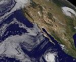 Satellite View- Western U.S. Cloud Street, Hurricane, Big Storm System (6185820841).jpg