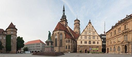 Schillerplatz und Stiftskirche Stuttgart 2013 Panorama