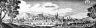 Schmalkalden - Schmalkalden, Matthäus Merian, Topographia Hassiae, engraving, 1655