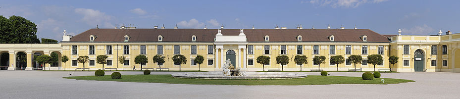 The west wing of the entrance courtyard of Schönbrunn palace