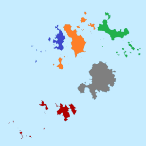 Council of the Isles of Scilly - The five wards (which are also the civil parishes) of the Isles of Scilly; red is St Agnes, blue is Bryher, orange is Tresco, green is St Martin's, and grey is St Mary's.