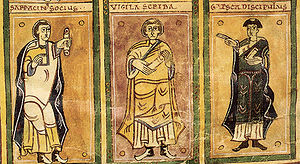 Codex Vigilanus - The scribes: Serracino, Vigila, and García as drawn by Vigila.