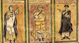 Codex Vigilanus - The scribes: Serracino, Vigila, and García as drawn by Vigila.