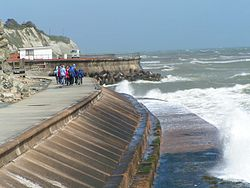 An example of a modern seawall in Ventnor on the Isle of Wight in the UK.