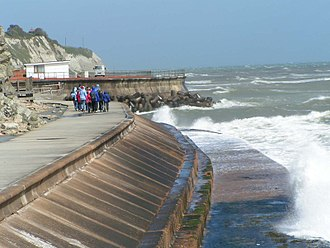 Seawall - An example of a modern seawall in Ventnor on the Isle of Wight