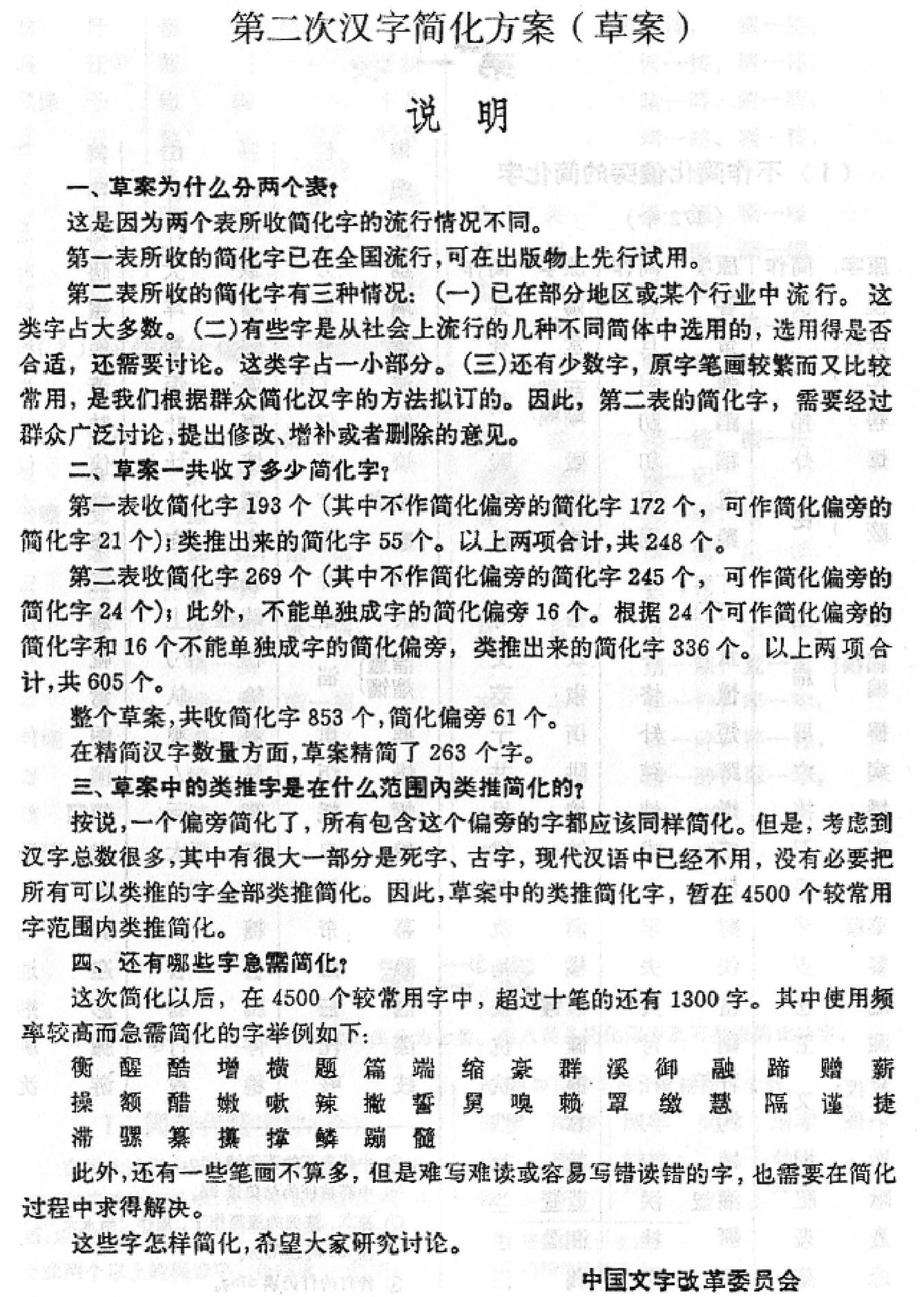 Second Chinese Character Simplification Scheme Draft Pdf