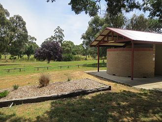 Onsite sewage facility - Septic field (background) in public park at Wallendbeen, Australia