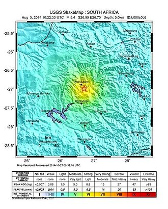 2014 Orkney earthquake - USGS ShakeMap illustrating the intensity of the earthquake
