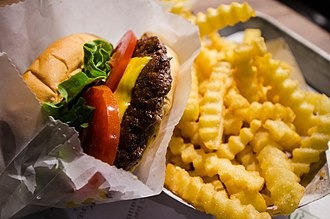 "Shake Shack - A ""ShackBurger"" and crinkle-cut French fries"
