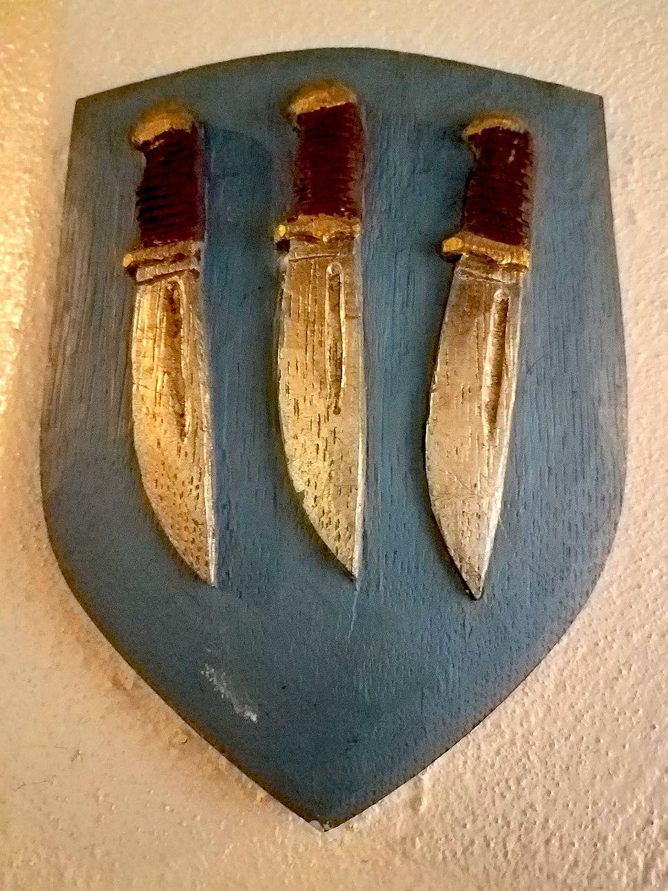 Shield showing three flaying knives, symbol of St. Bartholomew