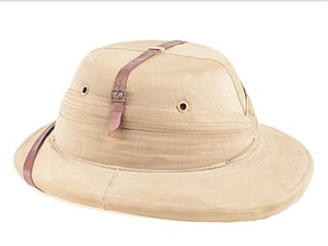 Sholapith - An Indian made 'Bombay Bowler' shola style pith helmet from the WW II era.