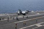 Side view of VAQ-137 EA-18G Growler launching from USS Harry S. Truman (CVN-75) during BALTOPS 180605-N-ZH683-0032.jpg