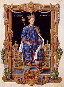 SigebertIer selon le Recueil des rois de France de Jean du Tillet. BNF. Miniature réalisée d'après la statue en métal de SigebertIer, érigée probablement au XIIesiècle, dans l'église Saint-Médard de Soissons. La statue représentait le roi assis sur un trône tenant un sceptre et la tête couronnée.