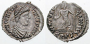 Constantine III (Western Roman Emperor) - Constantine III portrayed on a siliqua. The reverse celebrates the victories of the Augusti.