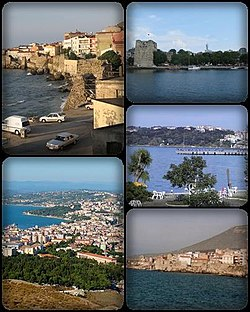 A collage of Sinop, تورکیه. Top left: view of Sinop North Wall, nearby Demirci and Bezirci area; top right: Sinop Fortress and Port of Sinop; middle right: View of Plaj Yolu, nearby Sinop Anadolu Imam Hatip College from Baris Manco Park; bottom left: Panorama view of downtown Sinop, from Hippodrome Hill; bottom right: Hamsilos resort area