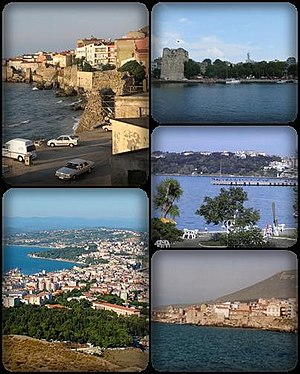 Sinop, Turkey - A collage of Sinop, Turkey. Top left: view of Sinop North Wall, nearby Demirci and Bezirci area; top right: Sinop Fortress and Port of Sinop; middle right: View of Plaj Yolu, nearby Sinop Anadolu Imam Hatip College from Baris Manco Park; bottom left: Panorama view of downtown Sinop, from Hippodrome Hill; bottom right: Hamsilos resort area