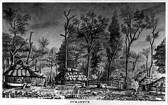 Woodford, Queensland - Sketch of Durundur Station by Charles Archer, 1843