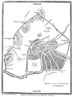 Storming of Bristol - Map of the fortifications in 1644