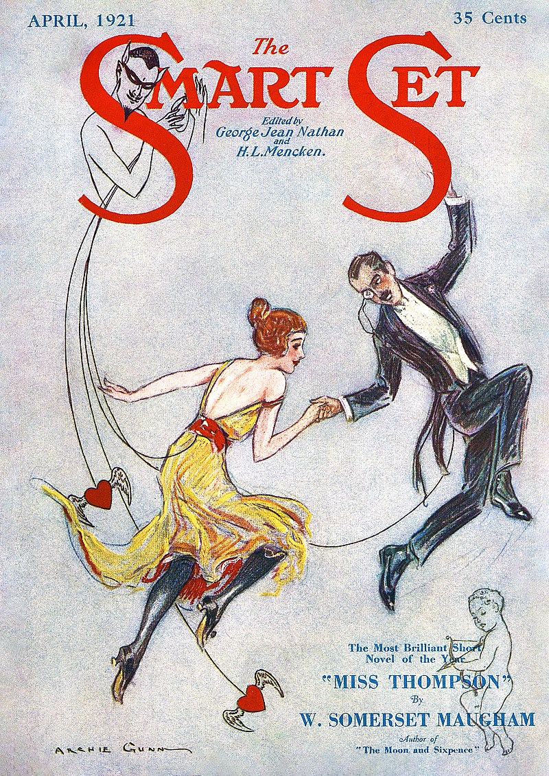 April 1921 cover of The Smart Set magazine advertising Maugham's long short story, 'Miss Thompson', later retitled 'Rain'