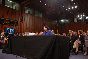 111th United States Congress - Sonia Sotomayor testifying before the Senate Judiciary Committee on her appointment to the U.S. Supreme Court, July 13, 2009.