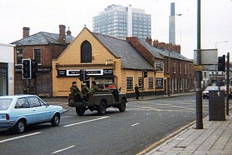 Operation Banner - A British Army Land Rover patrolling South Belfast (1981).