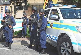 South African Police Service - Police officers with Vektor R5 assault rifles on SAPS parade in Johannesburg, May 2010