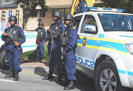Officers of the South African Police Service in Johannesburg, 2010. South african police may 2010.jpg