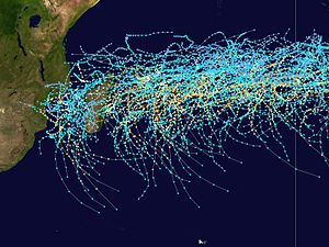 South-West Indian Ocean tropical cyclone - Tracks of storms in the basin from 1980 to 2005
