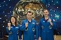 Soyuz MS-12 crew at the Baikonur Cosmodrome Museum.jpg
