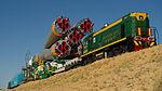 Soyuz TMA-05M spacecraft roll out by train 1.jpg