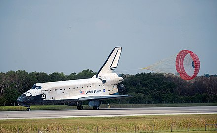 Discovery deploying its brake parachute after landing on STS-124. Space Shuttle Discovery Landing after STS-124.jpg