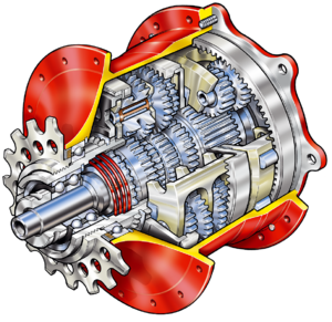"Schematic of a 14 speed gear box ""Speedhub"""