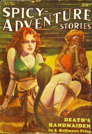 "E. Hoffmann Price - Cover of the pulp magazine ""Spicy-Adventure Stories"" (August 1935, vol. 2, no. 5) featuring Death's Handmaiden"